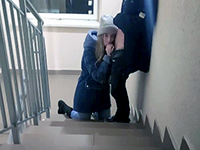 Slutty Russian Girl Sucking Cock In The Lift And The Staircase